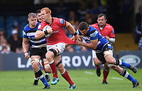 25th September 2021; The Recreation Ground, Bath, Somerset, England; Gallagher Premiership Rugby, Bath versus Newcastle Falcons; Charlie Ewels of Bath tackles Philip van der Walt of Newcastle Falcons
