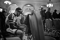 Simon Geschke (DEU/Giant-Shimano) checking his phone while waiting for his team to hit the stage<br /> <br /> Giro d'Italia 2014<br /> Opening Ceremony
