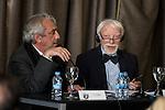 The director of the Circulo de Bellas Artes and the German Egyptologist Jan Assman during a conference at Circulo de Bellas Artes in Madrid. May 25, 2016. (ALTERPHOTOS/Borja B.Hojas)