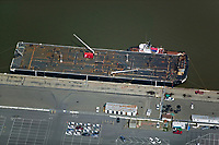 aerial photograph of tanker barge 450-11, docked at Benicia, Solano County, California