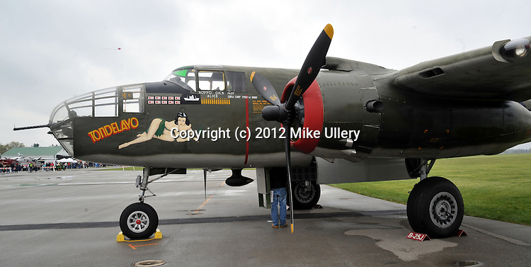 Day one of the B-25 Gathering at Grimes Field in Urbana, Ohio. Rain hampered arrivals and activites but a crowd still turned out to view several takeoff and landings from the aircraft that had arrived early, on Friday.