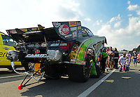Oct. 5, 2012; Mohnton, PA, USA: NHRA funny car driver Alexis DeJoria gets ready in the staging lanes during qualifying for the Auto Plus Nationals at Maple Grove Raceway. Mandatory Credit: Mark J. Rebilas-