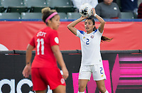 CARSON, CA - FEBRUARY 07: Gabriela Guillen #2 of Costa Rica with a throw in during a game between Canada and Costa Rica at Dignity Health Sports Complex on February 07, 2020 in Carson, California.