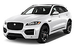 2018 Jaguar F-PACE 20d-R-Sport-AWD 5 Door SUV Angular Front stock photos of front three quarter view