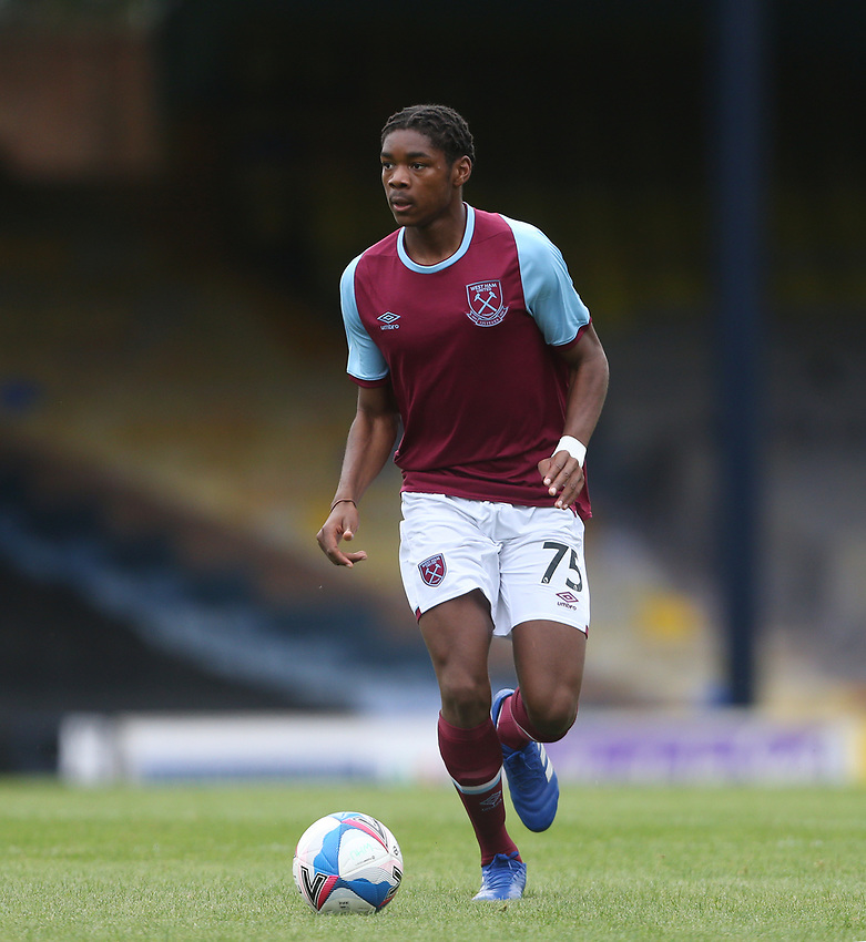 West Ham United's Jamal Baptiste<br /> <br /> Photographer Rob Newell/CameraSport<br /> <br /> EFL Trophy Southern Section Group A - Southend United v West Ham United U21 - Tuesday 8th September 2020 - Roots Hall - Southend-on-Sea<br />  <br /> World Copyright © 2020 CameraSport. All rights reserved. 43 Linden Ave. Countesthorpe. Leicester. England. LE8 5PG - Tel: +44 (0) 116 277 4147 - admin@camerasport.com - www.camerasport.com