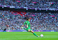 August 09, 2012: United States goalkeeper Hope Solo in action during Football Final match at the Wembley Stadium on day thirteen in Wembley, England. USA defeat Japan 2-1 to win it's third consecutive Olympic gold medal in women's soccer. ..