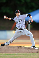 Kannapolis Intimidators starting pitcher Myles Jaye #18 delivers a pitch during a game against the Asheville Tourists at McCormick Field on May 9, 2013 in Asheville, North Carolina. The Intimidators won the game 13-12. (Tony Farlow/Four Seam Images).