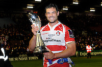 Mariano Galarza of Gloucester Rugby celebrates with the European Rugby Challenge Cup trophy