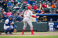 Greg Garcia (5) of the Memphis Redbirds at bat against the Omaha Storm Chasers in Pacific Coast League action at Werner Park on April 24, 2015 in Papillion, Nebraska.  (Stephen Smith/Four Seam Images)