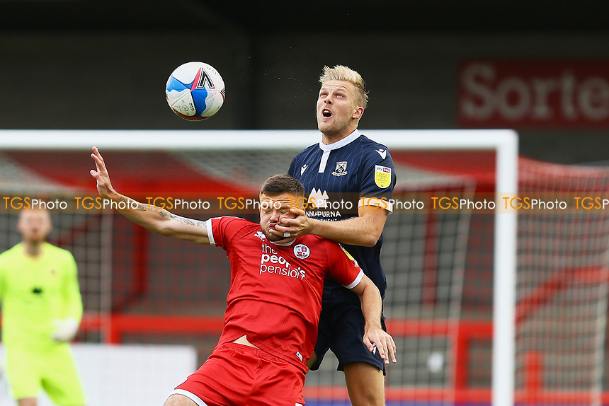 Harry Davis of Morecambe and Tyler Frost of Crawley Town  during Crawley Town vs Morecambe, Sky Bet EFL League 2 Football at Broadfield Stadium on 17th October 2020
