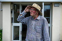 BNPS.co.uk (01202 558833)<br /> Pic: MaxWillcock/BNPS<br /> <br /> Robin Edmonds on the lookout for the 'vindictive' seagull outside his front door.<br /> <br /> A homeowner is at his wits end after being repeatedly attacked by violent seagulls.<br /> <br /> Robin Edmonds was forced to flee for cover from the 'vindictive' bird that dive-bombed him as he left his home.<br /> <br /> The 49-year-old has been left in fear about going outside and has even bought a special hat to protect him.