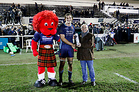 Theo Vukasinovic of London Scottish is awarded man of the match during the Greene King IPA Championship match between London Scottish Football Club and Hartpury RFC at Richmond Athletic Ground, Richmond, United Kingdom on 11 January 2019. Photo by Carlton Myrie / PRiME Media Images