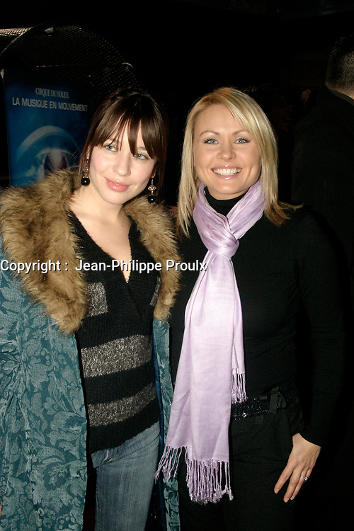 Mitsou (R)and her sister Abeille Gelinas (L)<br /> attend the Cirque du Soleil - DELIRIEM premiere  in Montreal , February 26, 2006<br /> photo : (c) by JP Proulx - Images Distribution