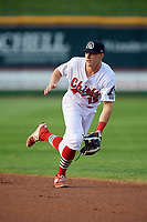 Peoria Chiefs second baseman Andy Young (15) ranges to his left during a game against the West Michigan Whitecaps on May 9, 2017 at Dozer Park in Peoria, Illinois.  Peoria defeated West Michigan 3-1.  (Mike Janes/Four Seam Images)