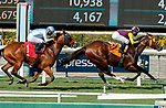 ARCADIA, CA  SEP 25:  #7 Big Runnuer, ridden by Juan Hernandez, holds off a fast closing #1 Wildman Jack, ridden by Abel Cedillo, to win the Eddie D Stakes (Grade ll) on September 25, 2020 at Santa Anita Park in Arcadia, CA. (Photo by Casey Phillips/Eclipse Sportswire/CSM.