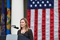 United States President Donald J. Trump nominates Amy Coney Barrett as Associate Justice of the US Supreme Court during a ceremony in the Rose Garden of the White House in Washington, DC on Saturday, September 26, 2020<br /> CAP/MPI/RS<br /> ©RS/MPI/Capital Pictures