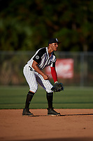Yohandy Morales during the WWBA World Championship at the Roger Dean Complex on October 19, 2018 in Jupiter, Florida.  Yohandy Morales is a shortstop from Miami, Florida who attends Monsignor Edward Pace High School and is committed to Miami.  (Mike Janes/Four Seam Images)