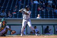 Surprise Saguaros third baseman Yanio Perez (36), of the Texas Rangers organization, at bat during a game against the Mesa Solar Sox on October 20, 2017 at Sloan Park in Mesa, Arizona. The Solar Sox walked-off the Saguaros 7-6.  (Zachary Lucy/Four Seam Images)