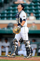 Lakeland Flying Tigers catcher John Murrian #32 during a game against the Brevard County Manatees on April 10, 2013 at Joker Marchant Stadium in Lakeland, Florida.  Brevard County defeated Lakeland 7-6.  (Mike Janes/Four Seam Images)