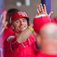 5 March 2016: Washington Nationals infielder Brendan Ryan returns to the dugout after scoring in the 7th inning of a Spring Training pre-season game against the Detroit Tigers at Space Coast Stadium in Viera, Florida. The Nationals defeated the Tigers 8-4 in Grapefruit League play. Mandatory Credit: Ed Wolfstein Photo *** RAW (NEF) Image File Available ***