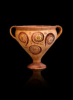 Minoan decorated two handled Ephyraean goblet  with geometric design , Konssos  Temple Tomb 1400-1250 BC; 1400-1250 BC; Heraklion Archaeological Museum, black background