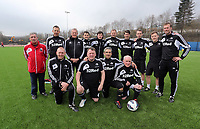 Thursday 11 April 2013<br /> Pictured: Coaching staff team/<br /> Re: Friendly game, Swansea City FC coaching staff v sports reporters at the Swansea City FC training ground. Final score 10-4.
