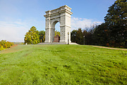 Tilton Arch Park during the autumn months. Located in Northfield, New Hampshire USA. This is a Titus Arch replica which was built in the late eighteen hundreds as a memorial to Charles Tilton's ancestors.