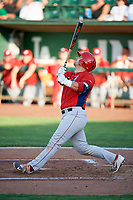 Harrison Wenson (23) of the Orem Owlz bats against the Ogden Raptors in Pioneer League action at Lindquist Field on June 21, 2017 in Ogden, Utah. The Owlz defeated the Raptors 16-5. This was Opening Night at home for the Raptors.  (Stephen Smith/Four Seam Images)