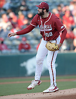 Arkansas starter Zebulon Vermillion follows through with a pitch Friday, April 2, 2021, during the first inning of play against Auburn at Baum-Walker Stadium in Fayetteville. Visit nwaonline.com/210403Daily/ for today's photo gallery. <br /> (NWA Democrat-Gazette/Andy Shupe)