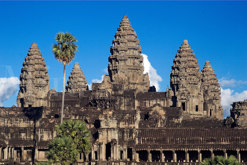 Stone temples representing the five peaks of Mount Meru at Angkor Wat, built in the 11th century by Suryavarman the 2nd  -  Cambodia..