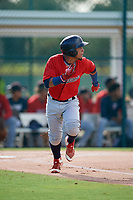 GCL Twins Jeferson Morales (2) runs to first base during a Gulf Coast League game against the GCL Pirates on August 6, 2019 at Pirate City in Bradenton, Florida.  GCL Twins defeated the GCL Pirates 4-2 in the first game of a doubleheader.  (Mike Janes/Four Seam Images)