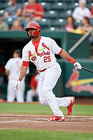 Springfield Cardinals designated hitter Anthony Garcia (25) follows through on a swing during a game against the Corpus Christi Hooks on May 31, 2017 at Hammons Field in Springfield, Missouri.  Springfield defeated Corpus Christi 5-4.  (Mike Janes/Four Seam Images)