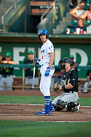 Kevin Lachance (5) of the Ogden Raptors bats against the Great Falls Voyagers at Lindquist Field on August 16, 2017 in Ogden, Utah. The Voyagers defeated the Raptors 11-6. (Stephen Smith/Four Seam Images)