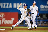 Dunedin Blue Jays shortstop J.C. Cardenas (2) throws to first base during a game against the St. Lucie Mets on April 19, 2017 at Florida Auto Exchange Stadium in Dunedin, Florida.  Dunedin defeated St. Lucie 9-1.  (Mike Janes/Four Seam Images)