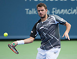 Stanislaus Wawrinka (SUI) defeats Marin Cilic (CRO) 3-6, 6-0, 6-1 at the Western & Southern Open in Mason, OH on August 14, 2014.