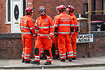 © Joel Goodman - 07973 332324 . 29/07/2011 . Salford, UK. A light aircraft has crashed in to the side of a house near Barton Aerodrome, in Salford, Greater Manchester . Photo credit : Joel Goodman
