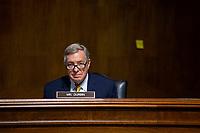 United States Senator Dick Durbin (Democrat of Illinois) listens during a U.S. Senate Committee on the Judiciary hearing on Capitol Hill in Washington D.C., U.S., on Wednesday, June 24, 2020.  Credit: Stefani Reynolds / CNP/AdMedia