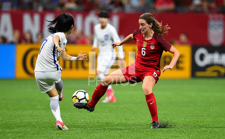 New Orleans, LA - Thursday October 19, 2017: Andi Sullivan during an International friendly match between the Women's National teams of the United States (USA) and South Korea (KOR) at Mercedes Benz Superdome.