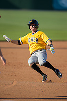 Jordan Luplow (16) of the West Virginia Power slides into third base after hitting a triple against the Kannapolis Intimidators at CMC-Northeast Stadium on April 21, 2015 in Kannapolis, North Carolina.  The Power defeated the Intimidators 5-3 in game one of a double-header.  (Brian Westerholt/Four Seam Images)