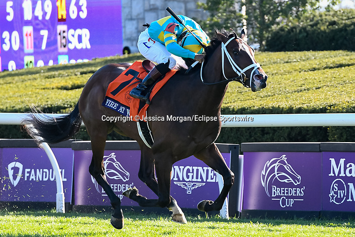 November 6, 2020: Fire at Will, ridden by Ricardo Santana, Jr., wins the Juvenile Turf Presented By Coolmore America on Breeders' Cup Championship Friday at Keeneland on November 6, 2020: in Lexington, Kentucky. Jessica Morgan/Breeders' Cup/Eclipse Sportswire/CSM