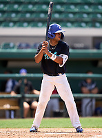 Westminster Christian Warriors Jayden Melendez (14) during the 42nd Annual FACA All-Star Baseball Classic on June 6, 2021 at Joker Marchant Stadium in Lakeland, Florida.  (Mike Janes/Four Seam Images)