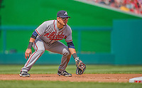 14 April 2013: Atlanta Braves infielder Ramiro Pena in action against the Washington Nationals at Nationals Park in Washington, DC. The Braves shut out the Nationals 9-0 to sweep their 3-game series. Mandatory Credit: Ed Wolfstein Photo *** RAW (NEF) Image File Available ***