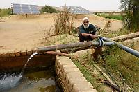 EGYPT, oasis El-Wahat el-Bahariya, desert farming with groundwater irrigation with solar powered pump, farm of small scale farmer / AEGYPTEN, Oase Bahariyya, Solar betriebene Pumpe zur Bewaessung eines Feldes eines Kleinbauern mit Grundwasser
