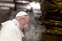 """Pope Francis celebrates a mass for the feast of the translation of the icon of Mary """"Salus Populi Romani"""" (Salvation of the Roman People) in St. Mary Major's Basilica, Rome, January 28, 2017. UPDATE IMAGES PRESS/Riccardo De Luca<br /> <br /> STRICTLY ONLY FOR EDITORIAL USE Pope Francis celebrates a mass for the feast of the translation of the icon of Mary """"Salus Populi Romani"""" (Salvation of the Roman People) in St. Mary Major's Basilica, Rome, January 28, 2017.<br /> UPDATE IMAGES PRESS/ Pope Francis celebrates a mass for the feast of the translation of the icon of Mary """"Salus Populi Romani"""" (Salvation of the Roman People) in St. Mary Major's Basilica, Rome, January 28, 2018. <br /> UPDATE IMAGES PRESS/Riccardo De Luca<br /> <br /> STRICTLY ONLY FOR EDITORIAL USE"""