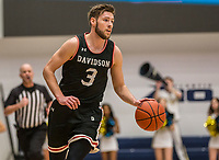 WASHINGTON, DC - JANUARY 29: Jin Axel Gudmundsson #3 of Davidson moves up court during a game between Davidson and George Wshington at Charles E Smith Center on January 29, 2020 in Washington, DC.