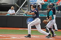 University of Virginia Cavaliers shortstop Daniel Pinero (22) at bat during a game against the University of Coastal Carolina Chanticleers at Springs Brooks Stadium on February 21, 2016 in Conway, South Carolina. Coastal Carolina defeated Virginia 5-4. (Robert Gurganus/Four Seam Images)