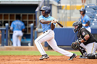 FCL Rays Yonathan Pierre (90) bats during a game against the FCL Pirates Black on August 3, 2021 at Charlotte Sports Park in Port Charlotte, Florida.  (Mike Janes/Four Seam Images)