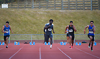 Edward Osei-Nketia (centre) compete in the elite men's 100m. 2021 Capital Classic athletics at Newtown Park in Wellington, New Zealand on Saturday, 20 February 2021. Photo: Dave Lintott / lintottphoto.co.nz