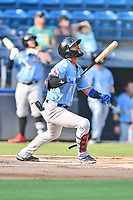Hickory Crawdads Miguel Aparicio (8) swings at a pitch during a game against the Asheville Tourists on July 21, 2021 at McCormick Field in Asheville, NC. (Tony Farlow/Four Seam Images)