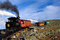 Mount Washington, NH, Breton Woods, White Mountain National Forest, New Hampshire, Mt. Washington Cog Railway trains carry passengers to the summit of Mount Washington in the White Mountain Nat'l Forest.